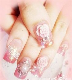 Gorfeous Pale Pink Rose Nail Art Picture from ☆Nails☆. Rose Nail Art, Rose Nails, Fancy Nails Designs, Nail Art Designs, Pretty Nails, Fun Nails, Valentine Nail Art, Nail Art Pictures, Wedding Nails