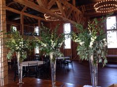 Large arrangements in green and white