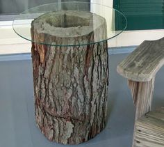 Tree stump tables! For my back porch. I just need the glass top.