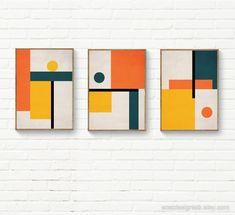 Set of 3 Geometric Wall Art Trendy Colors Orange Yellow Abstract Geometric Art, Abstract Wall Art, Abstract Print, Mid Century Wall Art, Orange Wall Art, Wall Art Sets, Trendy Colors, Orange Yellow, Art Therapy