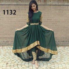 FatimaBi Plus size Fashion Indian Wedding Embroidery Green Anarkali Kameez Dress Stylish Dresses, Fashion Dresses, Dresses For Work, Stylish Outfits, Fashion Top, Fashion Night, Pretty Dresses, Modele Hijab, Afghan Dresses