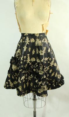 Half Circle African Print Skirt With Ruffles by vintagebycassandra