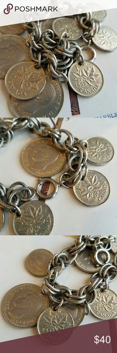 Vintage coin bracelet! Chunky Charm jewelry This wonderful chunky vintage bracelet has real 1940s to 1950s coins on a thick chain. The chain and coins are a faded gold color. The clasp on the chain is signed GERMANY. This pretty bracelet is in very good used condition. From a smoke free home :)  BearH8558coin888 Vintage Jewelry Bracelets