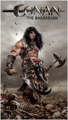 A fictional sword and sorcery hero that originated in pulp fiction magazine is Conan the Cimmerian, also known as Conan the Barbarian. Comic Book Characters, Comic Character, Comic Books Art, Fantasy Characters, Comic Art, Fantasy Anime, Dark Fantasy, Conan The Barbarian Comic, Barbarian Movie