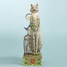 Tall Cat with Birdhouse Figurine - Jim Shore