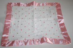 """Aden & Anais pink Oh Girl Stars Security Blanket Satin edge 16"""" cotton muslin #adenanais"""