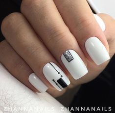 45 White Matte Nail Art Designs for 2018 - NailArts Black And White Nail Art, White Nails, Pink Nails, Gel Nails, Black White, Nail Nail, Stiletto Nails, Coffin Nails, Elegant Nails