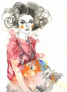 Fashion illustration - vibrant watercolors