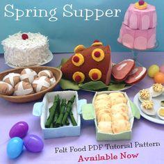 Spring Supper Felt Food Easter Pattern Ham by AmericanFeltandCraft, $9.50