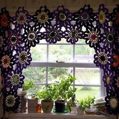 FLOWERS!!! Today's #crochet365 is flowers! This is the curtain I made for the…