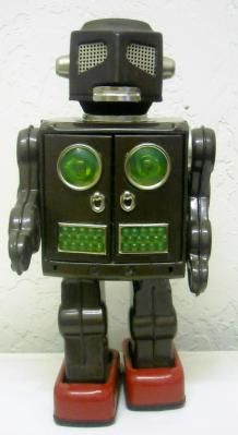 1960s JAPAN SH HORIKAWA ATTACKING MARTIAN ROBOT LITHO TIN SPACE TOY