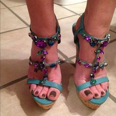 Rue 21 Beautiful green wedge shoes with colorful gems great for summer cork heel brand new never worn Rue 21 Shoes