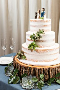 Rustic naked wedding cake topped with succulents: http://www.stylemepretty.com/2017/02/07/pippin-hill-summer-wedding/ Photography: Katie Stoops - http://www.katiestoops.com/