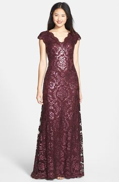 Marsala Sequin Lace Gown