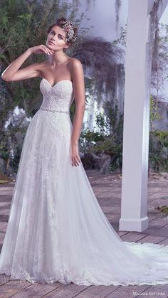 7075233701 maggie sottero bridal fall 2016 strapless sweetheart lace sheath wedding  dress (mirelle) mv aline