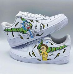 Nike Air Force One Rick and Morty Custom Sneakers by Custom Shoes Malaga Air Force 1, Nike Air Force Ones, Custom Sneakers, Custom Shoes, Malaga, Graffiti Shoes, Nike Af1, Us Man, Rick And Morty