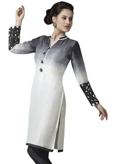 Shaded kurti in grey and cream highlighted in applique work - Kalkifashion.com