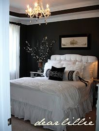 Another example of dark walls, white furniture, mirrors, crystals! Master bedroom paint color Kendall Charcoal by Benjamin Moore Dream Bedroom, Home Bedroom, Master Bedroom, Bedroom Decor, Bedroom Ideas, Extra Bedroom, Budget Bedroom, Bedroom Designs, Bedroom Inspiration
