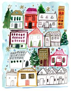 Building Illustration, House Illustration, Illustrations, Sketches Arquitectura, House Doodle, Christmas Cushions, Crazy Colour, Sketchbook Inspiration, Gouache Painting
