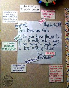I like how this anchor chart breaks down the different parts of a letter and has what is supposed to go in each part.