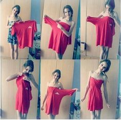How-to change a huge t-shirt into a cute dress