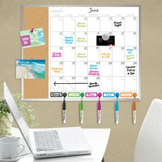"16""x20"" Canvas Style Magnetic Dry Erase Calendar for home or office organization."