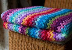 Granny Stripe Blanket Folded by TheCrocheteer, via Flickr
