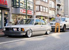 "Silver BMW E21 Slammed on Silver 16"" BBS RS 01"