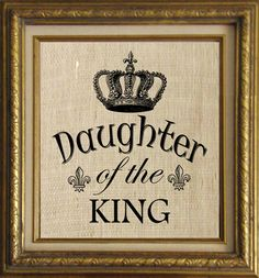Daughter of the King Text Word Calligraphy with Crown Digital Image Download