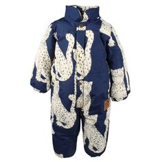 MINI RODINI Snow Leopard Baby Overall Blue