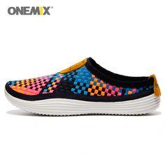 Onemix Weaving Running Shoes For Men Athletic Sneaker Yellow Weave Sport Slippers Walking Man Knitted Zapatillas De Deporte 1101