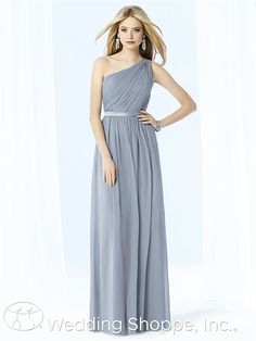 Classic Grecian one shoulder bridesmaid dress.