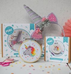 Always Be A Unicorn Craft Kit Gift Set | Eeseeagans Online on WeShop Beautiful Unicorn, Mini Cross Stitch, Unicorn Crafts, Wooden Hoop, Glitter Fabric, Color Box, Logo Sticker, Felt Diy, Art Club