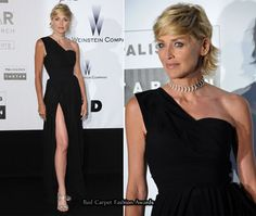 Sharon Stone has never looked better, but next time she should consider tanning her legs, before opting for a thigh high split. Her arm appears to be a different shade to her legs.