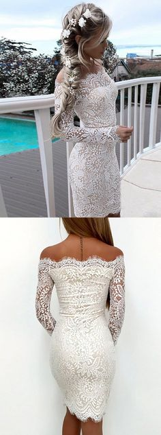Sheath Off the Shoulder Long Sleeves White Lace Short Homecoming Dress