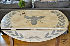 The Drop Leaf Table with a Wreath and a Bee www.homeroad.net