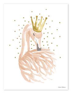 Kinderzimmer-Poster \'Schwan mit Krone\' gold/puderrosa 30x40cm