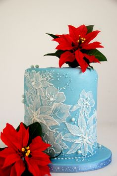 Royal Icing - brush embroidery, and sugar poinsettias - Christmas...