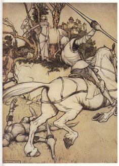 'Stories of King Arthur' (1902) by Arthur Rackham.  Lancelot saving Guinevere? Not sure.