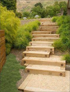 Sloped garden garten 23 Creative Garden Stair Ideas To Style Up Your Hillside Landscape Vegetable Garden Design, Diy Garden, Garden Paths, Garden Projects, Wooden Garden, Vegetable Gardening, Sloped Backyard, Sloped Garden, Landscape Stairs