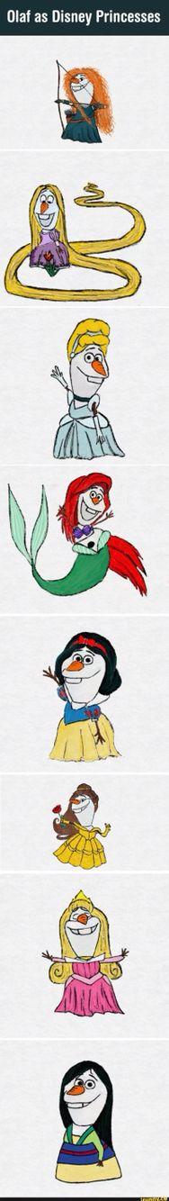 Olaf as Disney princess