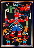 Daguesu (Lightning-splitting Ram) in Battle Banner by Mme. Leo ( Fon people, Benin, 1997 Fabric applique x African American Art, African Art, Fabric Art, Traditional Art, Handicraft, Fiber Art, Folk Art, Art Gallery, Illustration Art