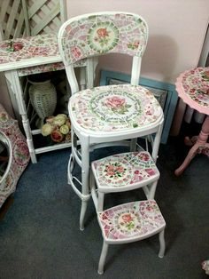 Beautiful use for broken and chipped vintage dishes! Adorable Shabby Chic Mosaic Chair or Step Stool- $375.00 plus shipping