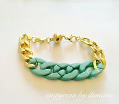 Gold and Turquoise Chain Bracelet (Gold Plated Findings) Fits wrist 7.0 - 7.5 inches, not adjustable by EmpyreanByDamaris on Etsy
