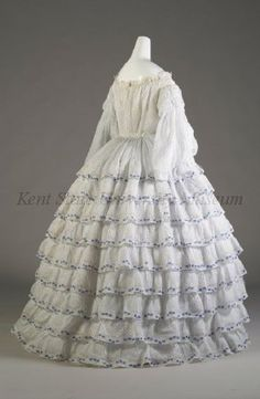Summer sheer cotton dress, ca. 1848-52 | In the Swan's Shadow