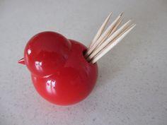 Vintage Red Wooden Bird by Aarikka of Finland