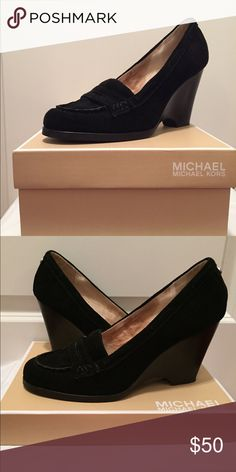 Michael Kors black suede wedge loafers Michael Kors black suede wedge loafers MICHAEL Michael Kors Shoes Flats & Loafers
