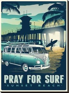 Stretched Canvas Print: Pray for Surf by Matthew Schnepf : 29x22in