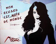 MON REGARD EST NOIR DE MONDE | misstic 92 x 73 cm Encre aérosol et collage sur toile Signée n°: Miss-1113-007-7M