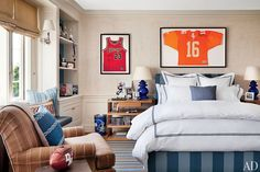 Talent agent Kevin Huvane enlisted designer Michael S. Smith and Ferguson & Shamamian Architects to update his historic Beverly Hills, California, residence. His teenage son Declan's room, which includes a colorful collection of sports paraphernalia, has a refined yet laid-back look.